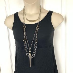 Chico's Multi Strand Silver Long Necklace